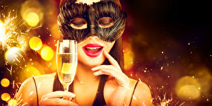 Wallpaper New year Masks Sparkling wine Fingers Face Red lips Stemware young woman