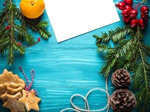 Bilder Neujahr Apfelsine Blatt Papier Ast Zapfen Kleine Sterne Vorlage Grußkarte