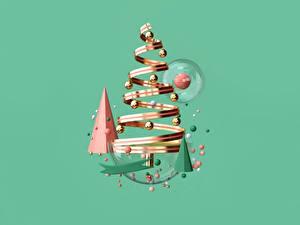 Fotos Neujahr Band Kugeln Tannenbaum Farbigen hintergrund 3D-Grafik