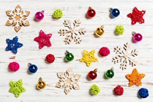 Hintergrundbilder Neujahr Schneeflocken Kleine Sterne Kugeln