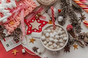 Hintergrundbilder Neujahr Stern-Dekoration Zapfen Kugeln Glocke Schleife Marshmallow