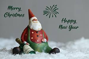 Fotos Neujahr Spielzeug Schaumwein Weihnachtsmann Englischer Sitzt Flaschen