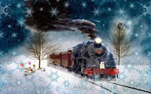 Bureaubladachtergronden Nieuwjaar Trein Vintage Sneeuw Rook Sneeuwvlokken 2020