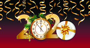 桌面壁纸,,新年,矢量图形,時鐘,2020,禮物,雪花,
