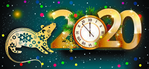 Image New year Vector Graphics Clock Rats 2020 Snowflakes Rays of light