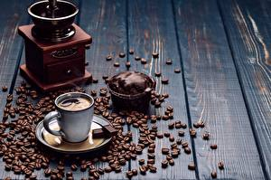 Wallpapers Coffee Chocolate Little cakes Coffee mill Cup Grain Saucer Wood planks Food