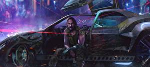 Fotos Cyberpunk 2077 Keanu Reeves Mann Sitzen computerspiel Prominente Autos Fantasy