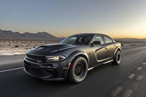 Hintergrundbilder Dodge Schwarz Fahrendes Charger, AWD, 2019, SpeedKore, Twin Turbo Carbon auto