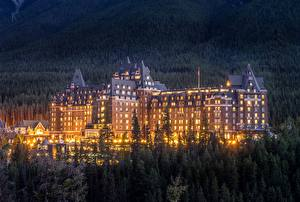Images Evening Houses Canada Hotel Banff Fairmont Banff Springs Cities