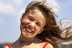 Wallpapers Face Smile Brown haired Little girls Hair Windy child