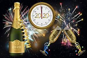 Fotos Feuerwerk Champagner Zifferblatt Neujahr Weinglas 2020 Flaschen
