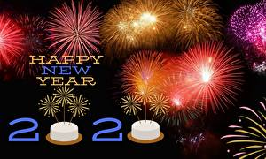 Wallpaper Fireworks New year Lettering English 2020