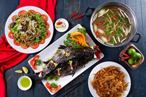 Fotos Fische - Lebensmittel Suppe Salat Gemüse Teller Makkaroni Lebensmittel