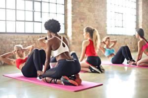 Fotos Fitness Turnhalle Körperliche Aktivität Uniform Mädchens