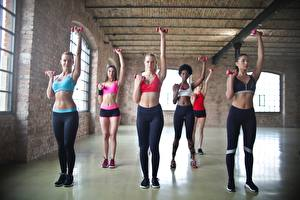 Picture Fitness Gym Workout Uniform Blonde girl Hands Belly Beautiful Sport Girls