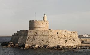 Hintergrundbilder Griechenland Leuchtturm Agios Nikolaos fortress on the Mandraki