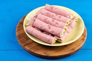 Fotos Schinken Schneidebrett Teller Ham Roll das Essen