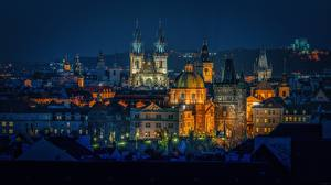 Pictures Houses Prague Czech Republic Night Dome Cities