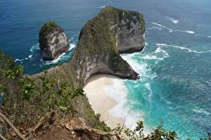 Fotos Indonesien Insel Meer Strände Felsen Bali, Kelingking Beach, Nusa Penida Natur