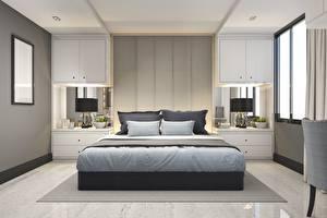 Wallpaper Interior Bedroom Bed Pillows Design 3D Graphics