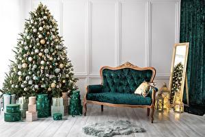Hintergrundbilder Innenarchitektur Neujahr Couch Spiegel Zimmer Geschenke Tannenbaum