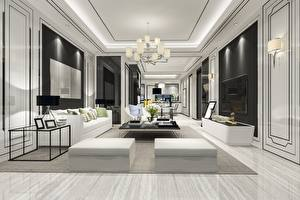 Wallpapers Interior Room Design Chandelier Television Table Sofa Pillows Lounge sitting room 3D Graphics