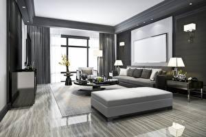 Sfondi desktop Interno la stanza camera Finestra Lampada da camera TV Disegno Soggiorno Grafica 3D