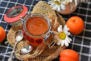 Bilder Konfitüre Aprikose Kamillen Einweckglas Löffel Lebensmittel