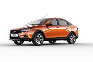 Images Lada Side White background Orange Metallic Sedan 2018 Vesta Cross automobile