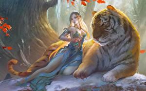 Desktop wallpapers Magical animals Tigers Elf Beautiful Fantasy Children