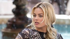 Bilder Margot Robbie Blondine Kopf Gesicht Prominente Mädchens
