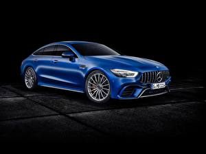 Pictures Mercedes-Benz Black background Blue Metallic Concept, GT-Class automobile