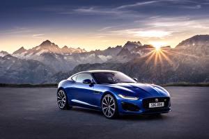 Bilder Berg Jaguar Sonne Blau Metallisch Coupe F-Type R, 2021 auto