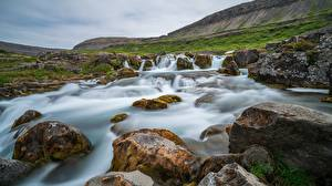 Pictures Mountain Stone Waterfalls River Iceland Dynjandi Waterfall Nature