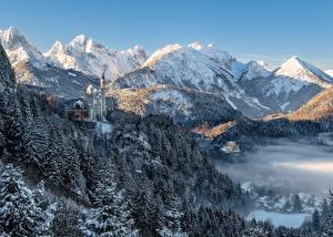 Wallpaper Mountain Winter Forest Castle Germany Landscape photography Alps Bavaria Neuschwanstein Castle Nature