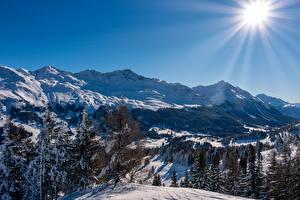 Bilder Berg Winter Schweiz Alpen Sonne Lichtstrahl Schnee  Natur