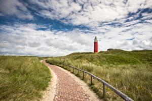 Bilder Niederlande Leuchtturm Himmel Gras Gehweg Eierland Lighthouse, Texel island