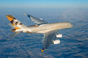 Fotos Verkehrsflugzeug Airbus Flug A380-800, Etihad Airways Luftfahrt