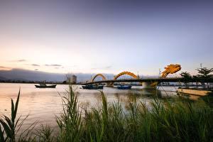 Hintergrundbilder Flusse Brücken Binnenschiff Drachen Vietnam Gras Dragon Bridge, Danang Städte