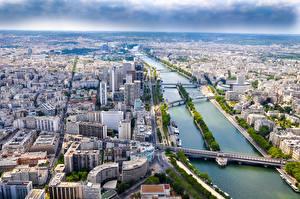 Fotos Flusse Gebäude Brücken Frankreich Paris Von oben Seine