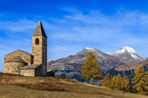 Bilder Himmel Berg Kirche Frankreich La chapelle Saint-Pierre, Savoie Natur