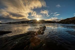 Fotos Himmel Norwegen Wolke Sonne Lichtstrahl Troms Natur