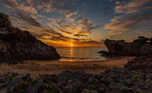 Hintergrundbilder Morgendämmerung und Sonnenuntergang Landschaftsfotografie Meer Himmel Sonne Strände Wolke Natur