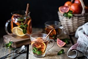 Hintergrundbilder Tee Orange Frucht Tisch Becher Löffel Minzen Weidenkorb Lebensmittel