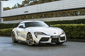 Hintergrundbilder Toyota Weiß Metallisch 2019 GR Supra GT
