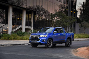 Hintergrundbilder Toyota Blau Metallisch Pick-up 2019 Hilux Legende 50 Double Cab auto