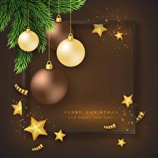 Hintergrundbilder Vektorgrafik Neujahr Ast Kugeln Kleine Sterne Englisch Vorlage Grußkarte