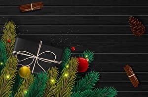 Fotos Vektorgrafik Neujahr Zimt Ast Kugeln Geschenke Zapfen