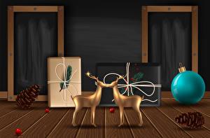 Bilder Vektorgrafik Neujahr Hirsche Geschenke Kugeln Zapfen
