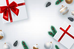 Bilder Vektorgrafik Neujahr Grauer Hintergrund Geschenke Schleife Ast Kugeln Zapfen Vorlage Grußkarte